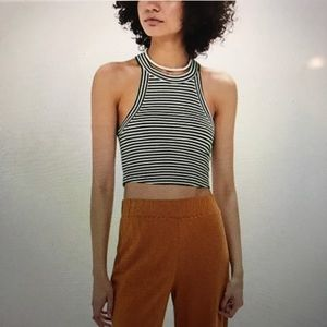 TRULY MADLY DEEPLY High-Neck Striped Cropped Tank